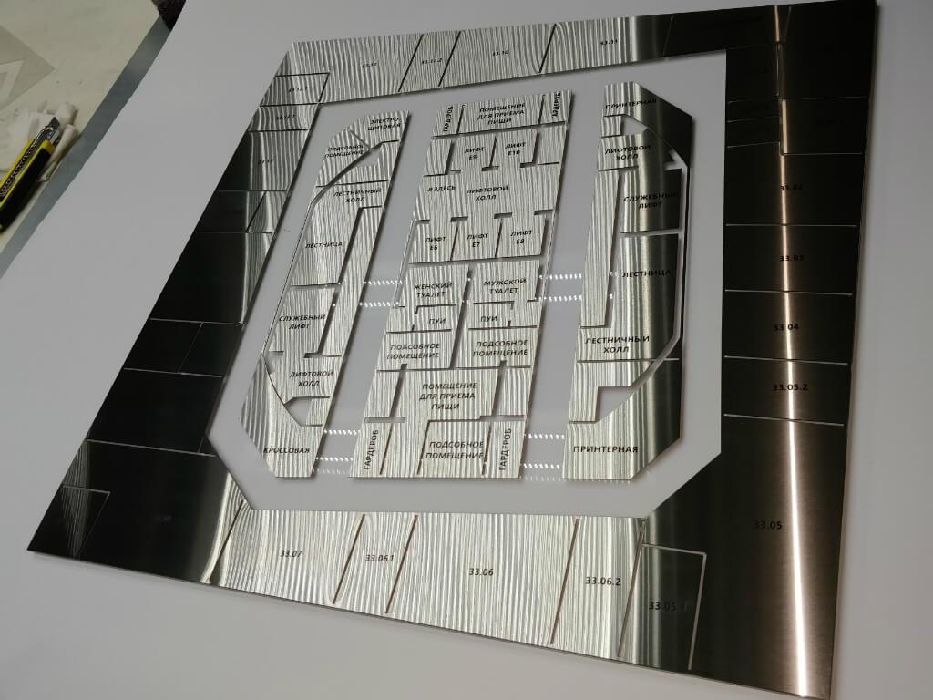 Лазерная резка и гравировка деталей указателя