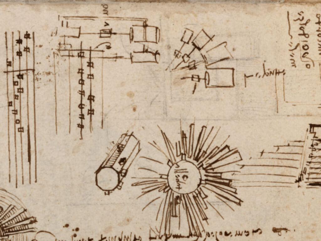 Рукопись Леонардо с рисунками светодиодов